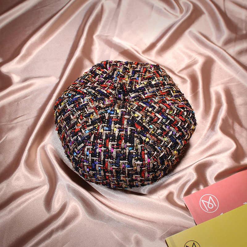Зимний теплый французский Грация плед Дамский берет Кепка для женщин досуг Тыква художника шляпа оптовая вязание берет