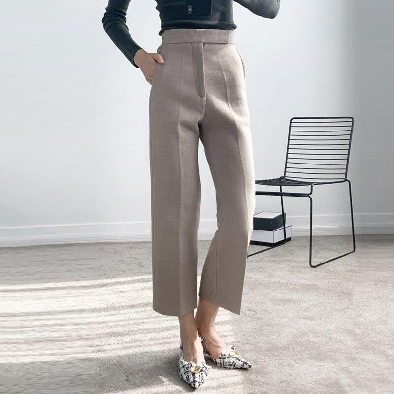 Para Las Tobillo khaki Ropa Moda Gray Mujeres Del De Alta Primavera Gruesa Pantalones Coreana Cintura La Casual Twotwinstyle Femenina 2019 Más Longitud 8px00Y