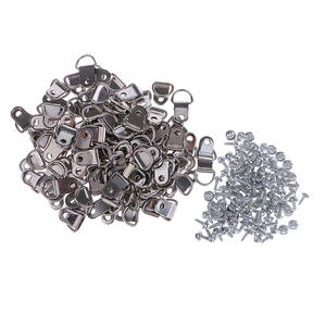 100x Silver Metal D Ring Picture Hangers Frame Hanging Hangers Single Hole with 100x Screws for Picture Photo Frame Cross-stitch