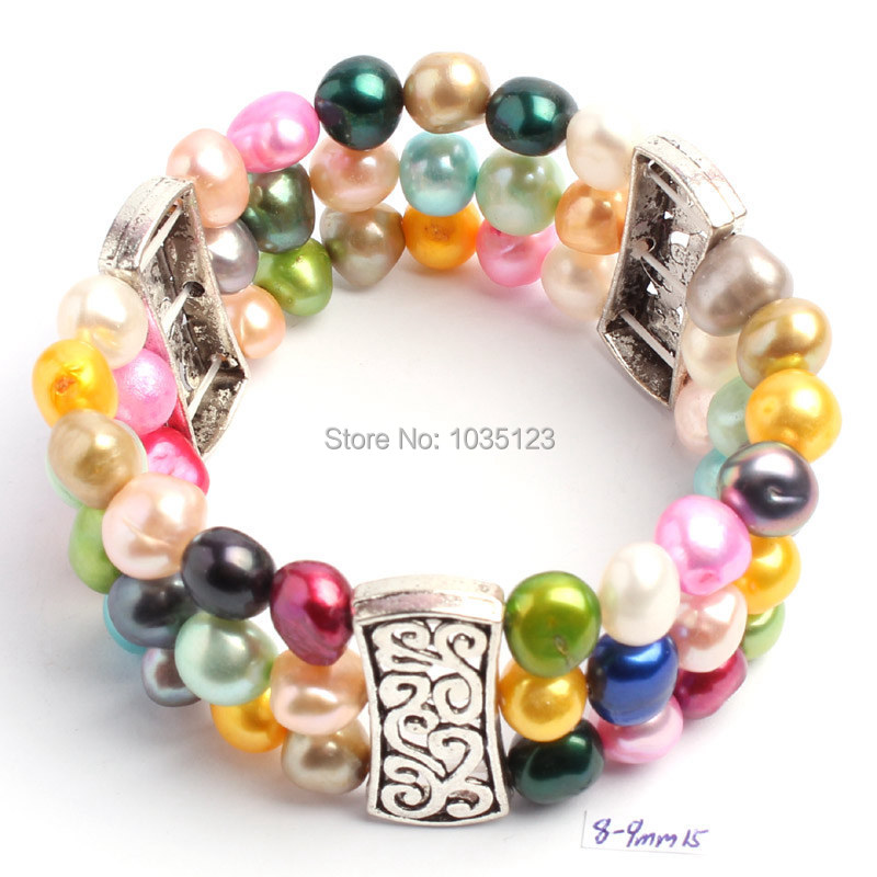 Free Shipping Pretty 8-9mm Natural Mixed Color Freshwater Pearl Fashion Elasticity Bracelets Jewelry w1112