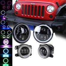 4Pcs/Set LED RGB 50W 7 inch Car Headlight + 30W 4 inch Fog Light Hi/Lo Beam DRL For Jeep Wrangler 1997-2016 Lada Niva Offroad