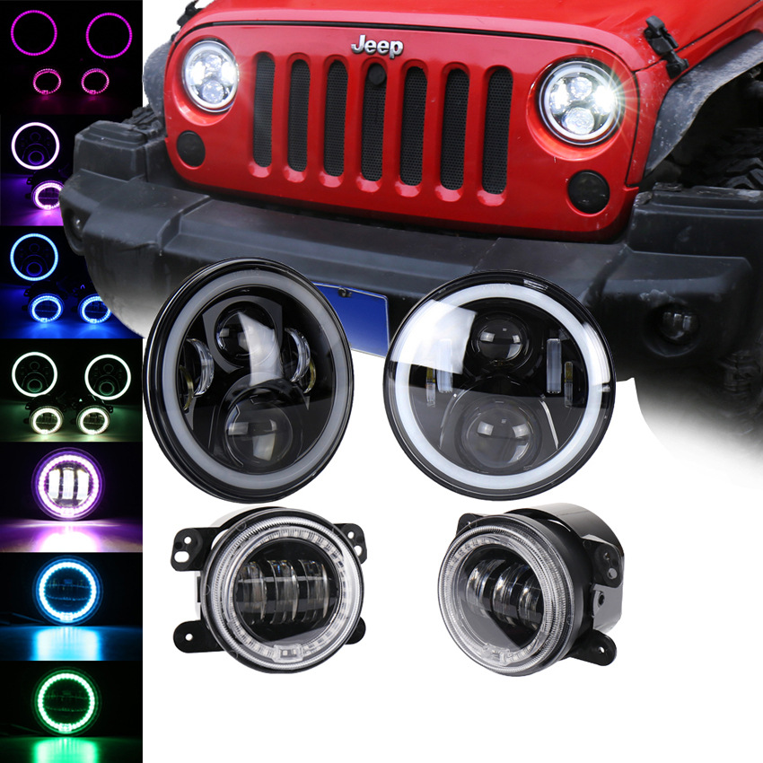 4Pcs/Set LED RGB 50W 7 inch Car Headlight + 30W 4 inch Fog Light Hi/Lo Beam DRL For Jeep Wrangler 1997 2016 Lada Niva Offroad