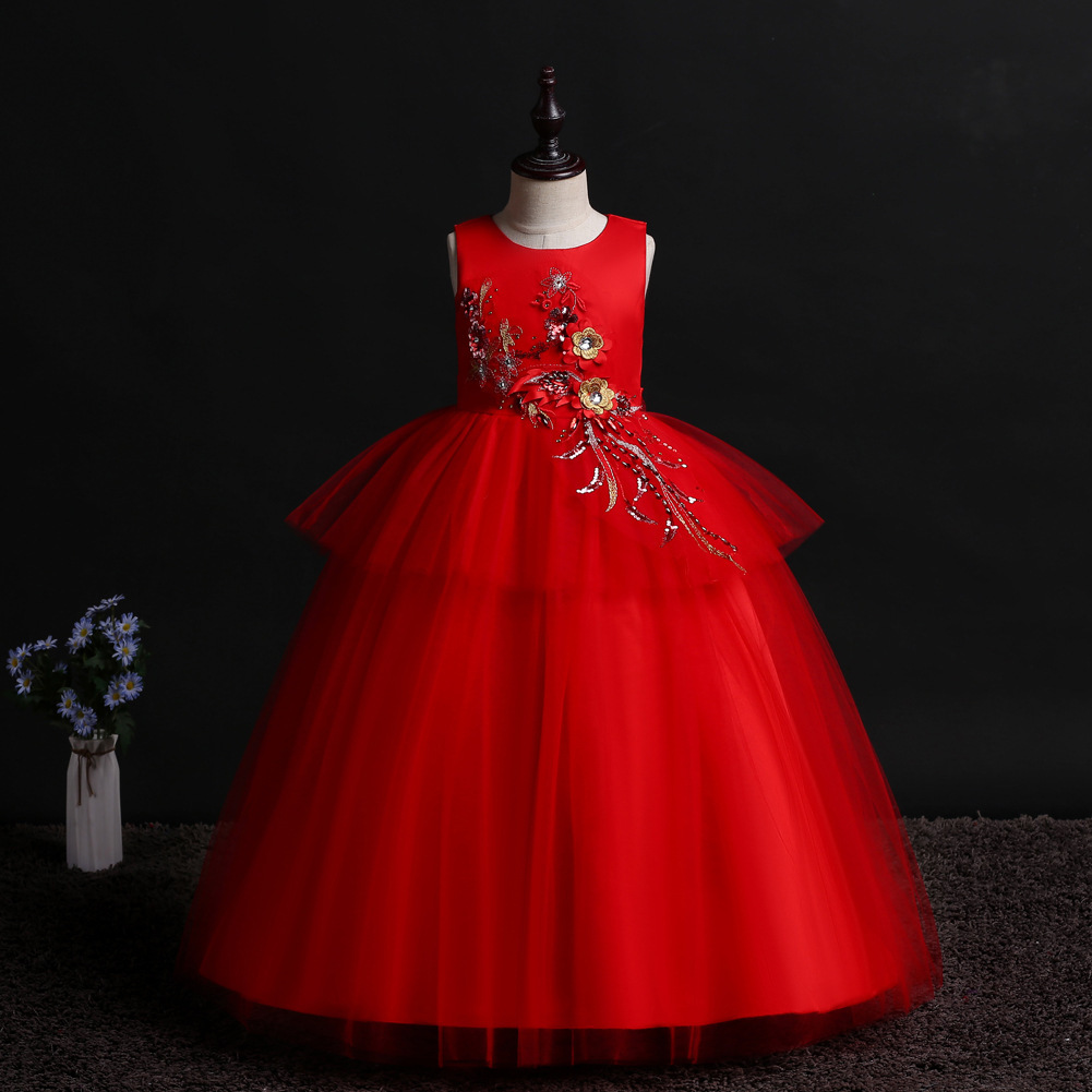 Children Full Dress 2019 New Gauze Dress Embroidered Paillette Longuette Girl Princess Dresses Piano Serve 738