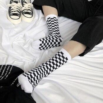 Korea Funky Harajuku Trend Women Checkerboard Socks Geometric Checkered Socks Men Hip Hop Cotton Unisex Streetwear Novelty Socks 1