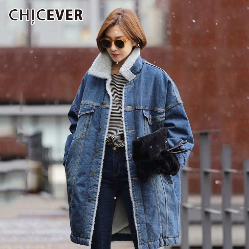 CHICEVER Plus Size Denim   Trench   Coat For Women Lambswool Windbreaker Loose Keep Warm Coats Female Oversize Clothes Korean New