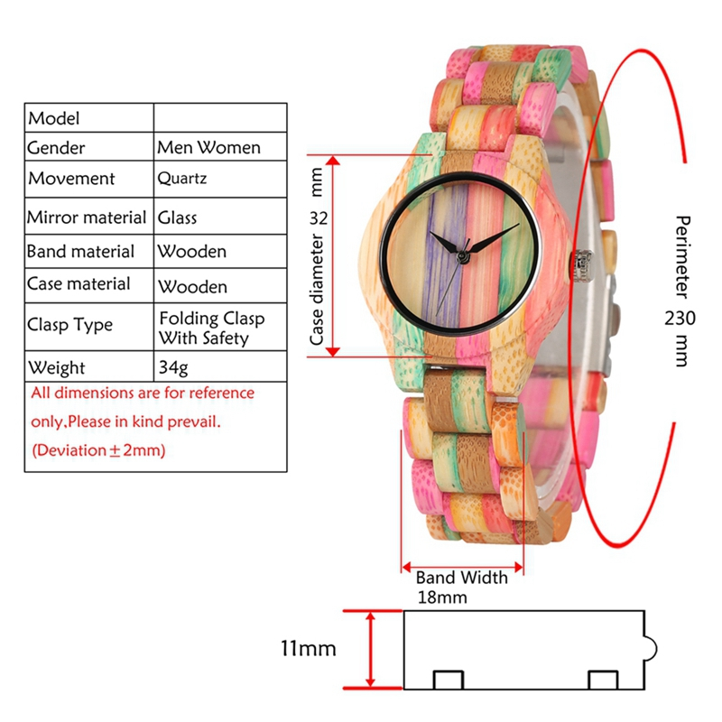 Image 5 - Top Luxury Colorful Wood Watch Womens Quartz Full Bamboo Wooden Clock Female Fashion Candy Color Bracelet Hour Lady Wrist WatchWomens Watches   -