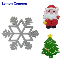 1Pc Santa Claus Snowflake Christmas tree Silicone Teether Perle Bead Infant Tooth Care Chew Teething Toy Baby