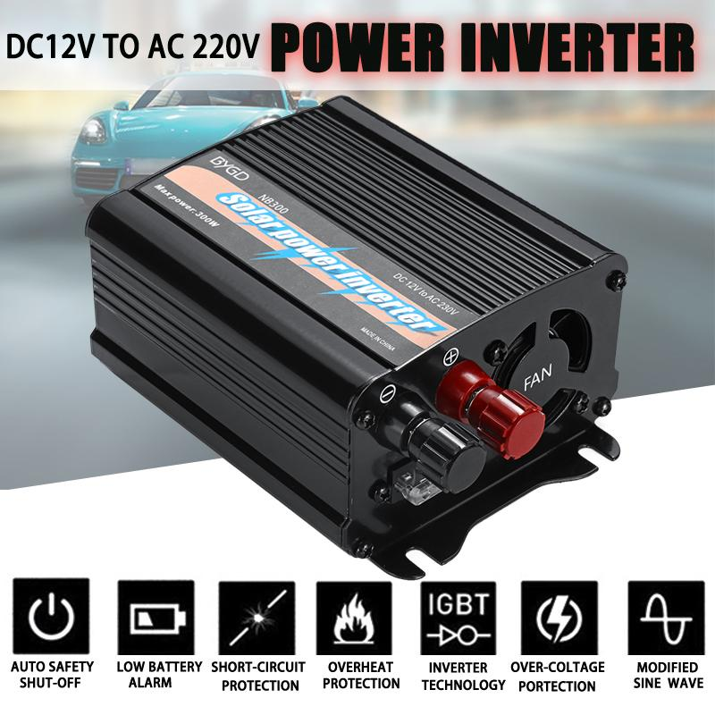 300W Max Solar Power Inverter 12 V to AC 220 Volt Digital Display Modified Sine Wave Car Charge Converter Transformer300W Max Solar Power Inverter 12 V to AC 220 Volt Digital Display Modified Sine Wave Car Charge Converter Transformer