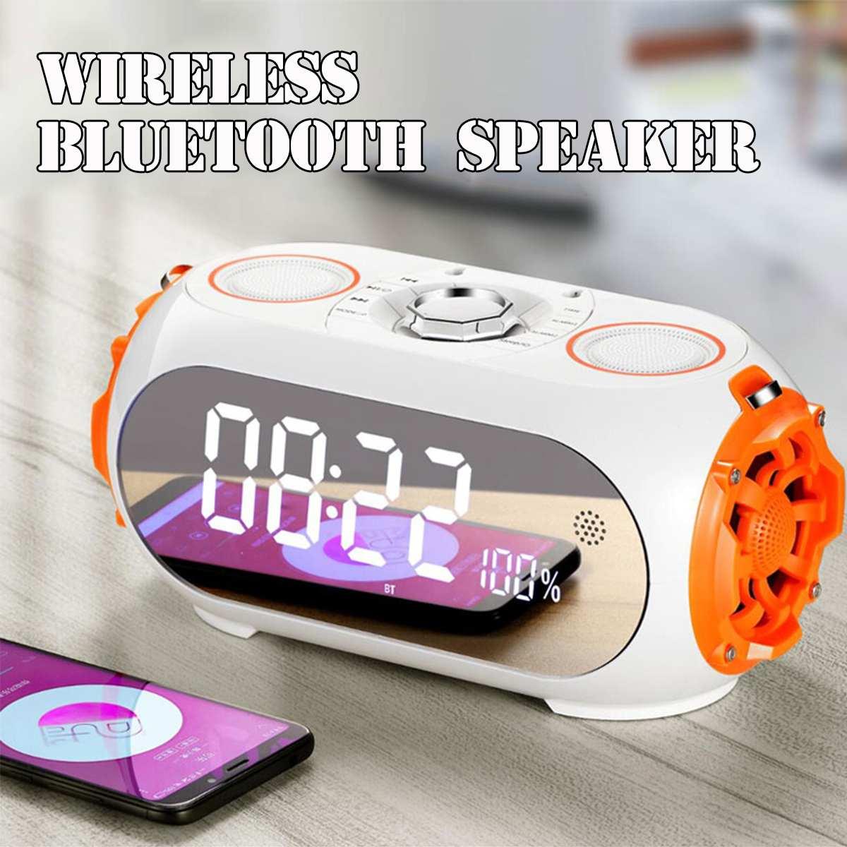 Bluetooth enceinte portable led Miroir réveil horloge de table numérique Électronique Affichage de L'heure montre digitale horloge led Nixie