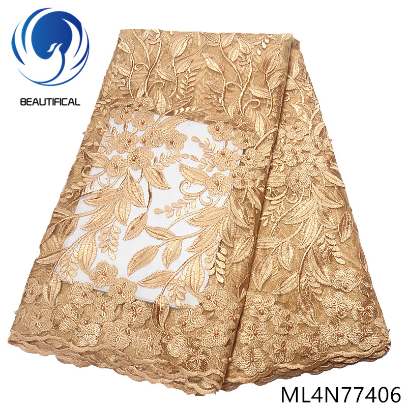 BEAUTIFICAL gold french lace fabric embroidery tulle african lace fabric 5 yards/lot ML4N774BEAUTIFICAL gold french lace fabric embroidery tulle african lace fabric 5 yards/lot ML4N774