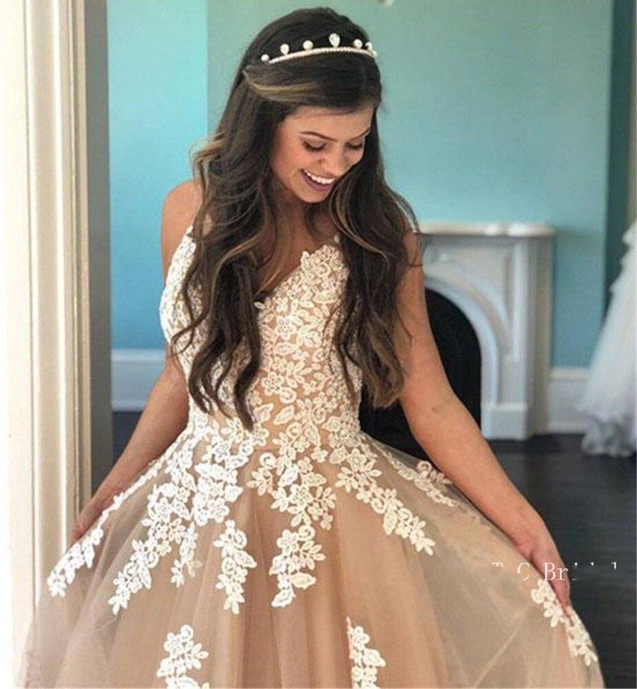 Eightale Champagne Wedding Dress Champagne White Lace Appliques A Line Spaghetti Strap Long Bridal Dresses Princess Wedding Gown