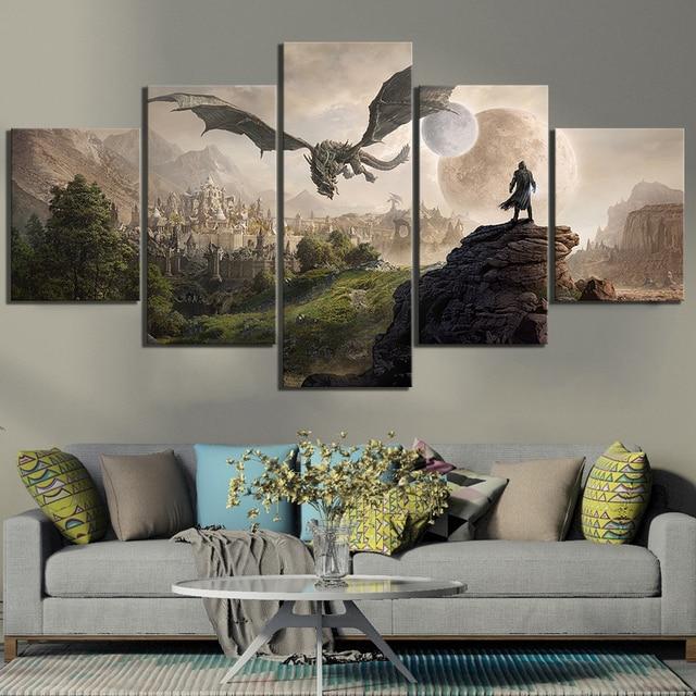 Модульная картина для домашнего декора, 5 шт. Skyrim, игровой постер -