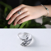 925 Sterling Silver peacock Rings for Women Jewelry Fashion Open Adjustable Finger Ring Free Shipping цена и фото
