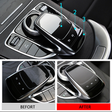 For Mercedes Benz C E S GLC GLE Class 3pcs PVC Center Control Mouse Touch Protective Film Anti Scratch Resistant Sticker
