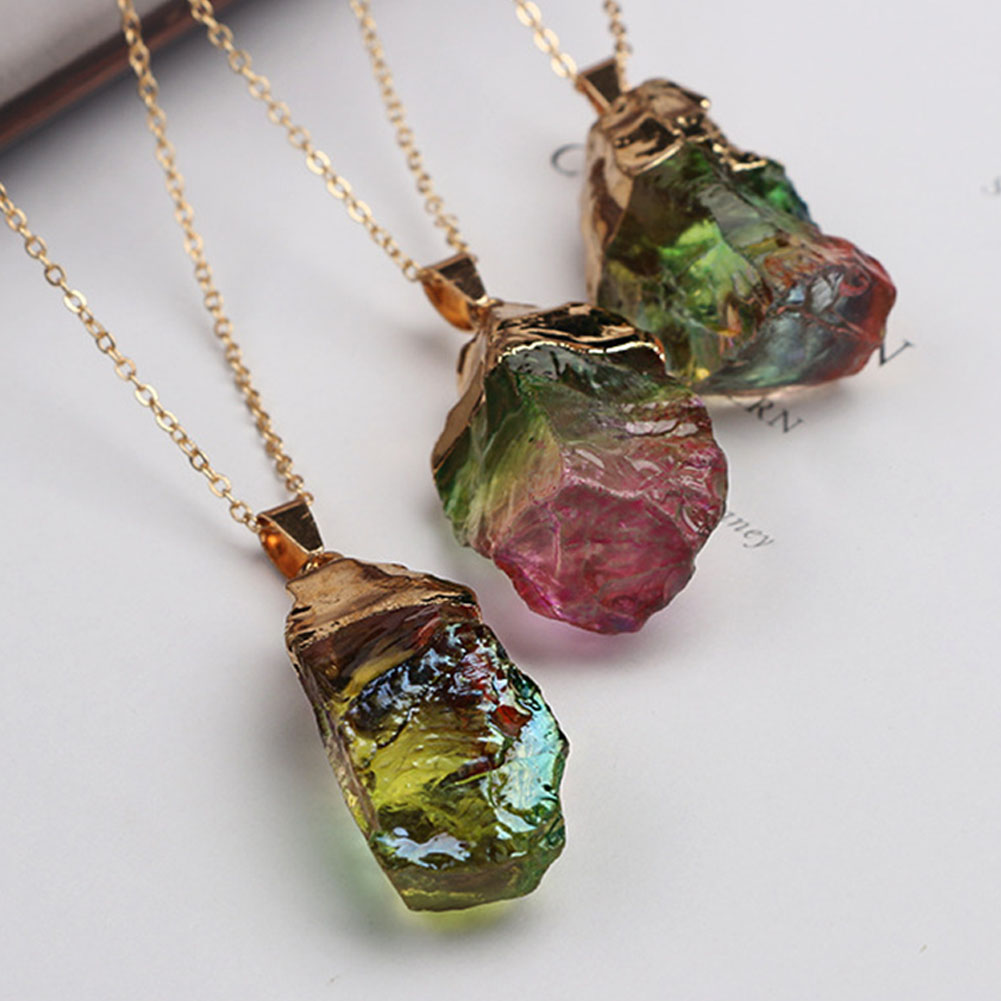 Pendant Multi-colored Fabala Delicate Necklace RFID Blocking Crystal Women Accessories Natural Stone Jewelry Chain
