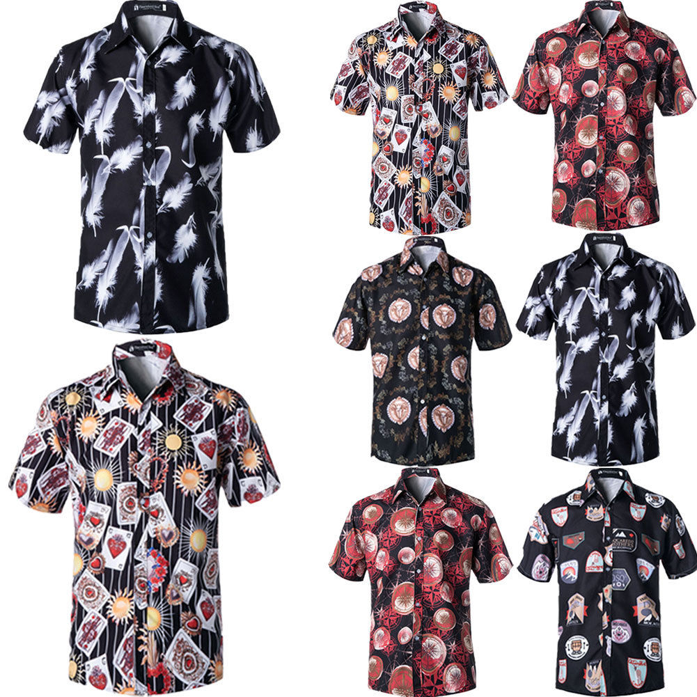 Grey Girls Casual Button Down Short Sleeve Shirt,XS-2XL,Flourishing Floral Patt