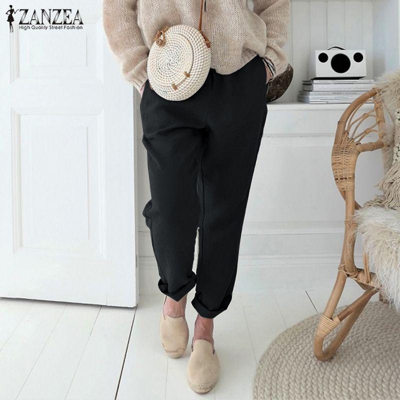 2019 Women Pants Ladies Casual Plain Harem Pants Zanzea Cotton Pockets Trousers Pantalons Mujer Cargo Pants Streetwear Plus Size