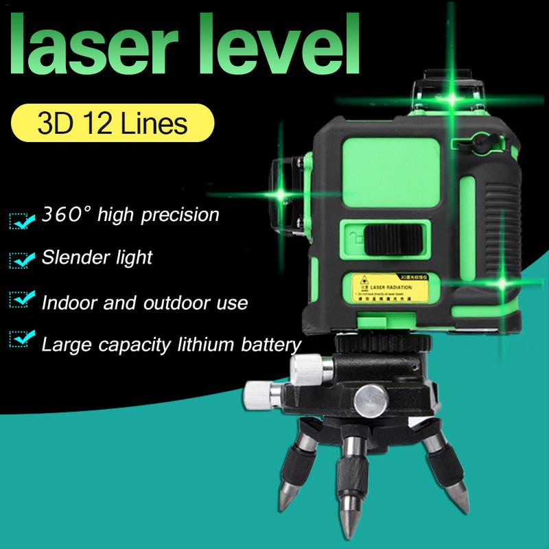 3D 8 12 Lines Green Laser Levels Self Leveling 360 Horizontal And Vertical Cross Super Powerful