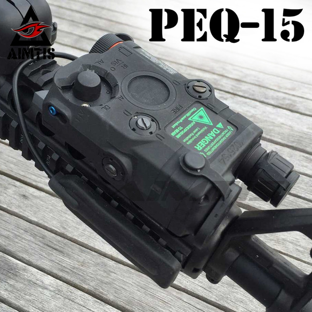 AIMTIS Airsoft PEQ-15 Tactical Light Laser Combo Rail Mounted Light Red  Laser LED Flashlight with IR Lens Gun Lamp f54a6886c597