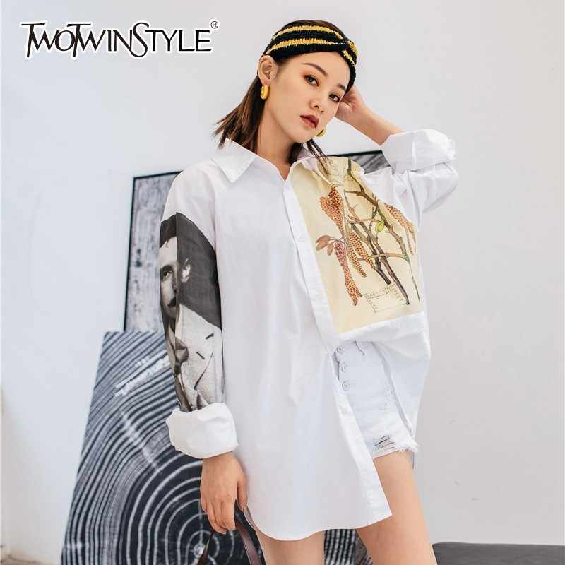 123773d30db30a TWOTWINSTYLE Print Shirts For Women Lapel Collar Long Sleeve Hit Color Oversized  Blouse Tops Female Spring