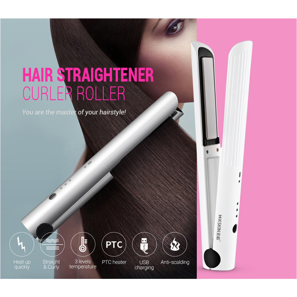 K-SKIN KD-386 Portable Rechargeable Hair Straightener Curler Ceramic Iron Styling Tool Cordless Adjustable Temperature Fast HeatK-SKIN KD-386 Portable Rechargeable Hair Straightener Curler Ceramic Iron Styling Tool Cordless Adjustable Temperature Fast Heat