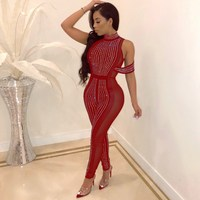 Sexy Women Skinny Party Jumpsuit See Through Bandage Mesh Patchwork Jumpsuit Fashion Cold Shoulder Glitter Jumpsuit