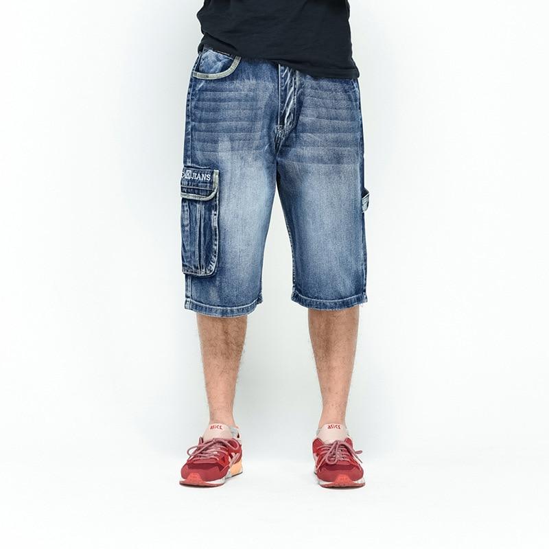 Hi-Street Jeans Shorts Bermuda Vintage Plus-Size Male Fashion Loose Men Baggy 46 44