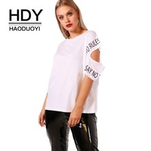 HDY Haoduoyi Plus Size 2019 New Fashion Cut Out  Women Summer T-shirts Letter Printed O Neck Short Sleeve Casual Lady Tops
