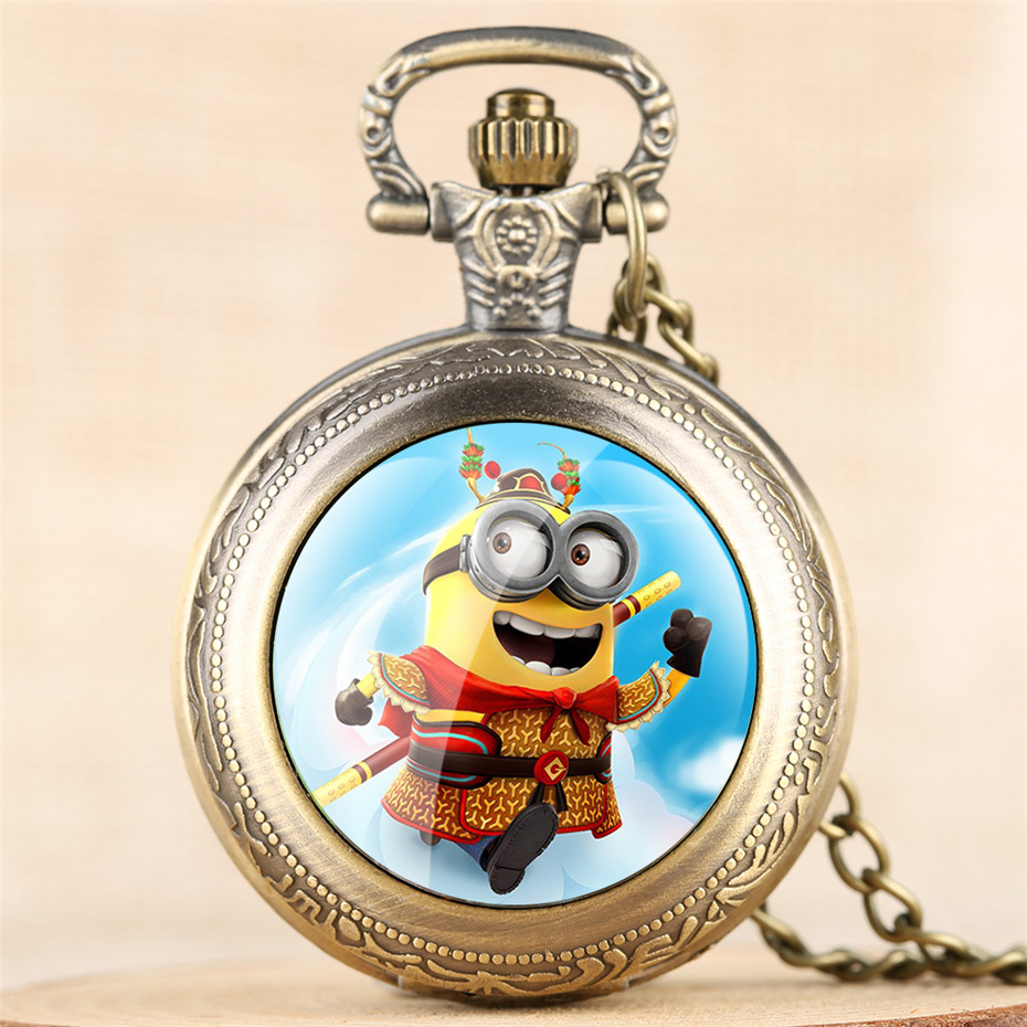Classic Minions Design Quartz Pocket Watch Numerals Analog  Display Dial Lovely Pendant Necklace Clock For Boys Girls Kids