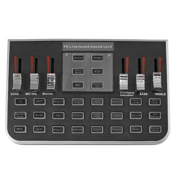 F8 4 режима Студия аудио микшер, микрофон трансляция стример Live Звуковая карта для дергаться live для паровой игрой жить для дергаться