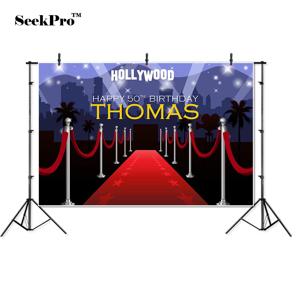 thin vinyl hollywood red carpet <font><b>happy</b></font> <font><b>50th</b></font> <font><b>birthday</b></font> Photo Backgrounds Printed Professional Indoor Photographic studio <font><b>Backdrops</b></font> image