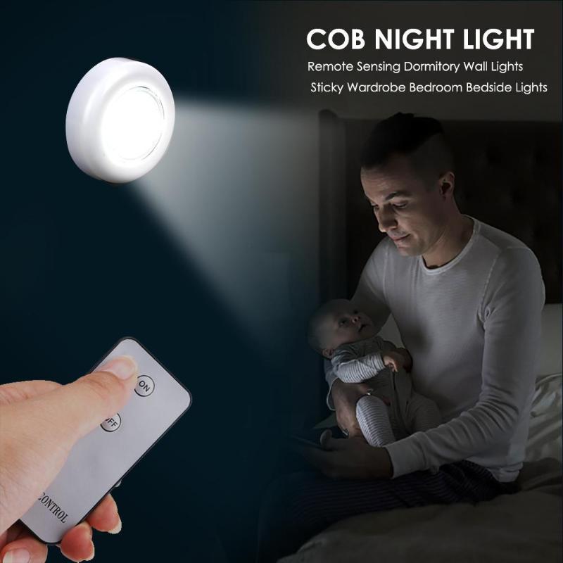 2pcs Led COB Night Light 50LM Bedroom Lamp Wireless Remote