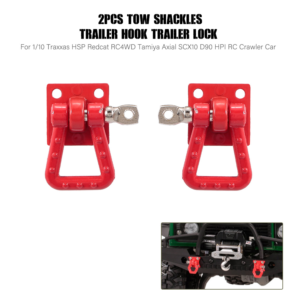 2pcs RC Cars Tow Shackles Trailer Hook Trailer Lock for 1/10 Traxxas HSP Redcat RC4WD Tamiya Axial SCX10 D90 HPI RC Crawler Part
