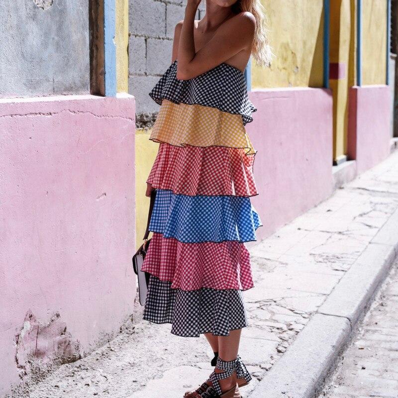 Sans Vêtements Décontractés Color Pour Manches Robe Nouvelle Multicouche Bretelles Be770 Picture Plaid 2018 Mode Ruches Coloré Qzlw Sexy D'été Femme j35RLc4Aq