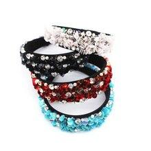 Woman Headdress Tiara Wedding Hair Accessories Sequin Crystal Baroque Headband Hairbands Bijoux Jewelry Diademas Tocado Novia