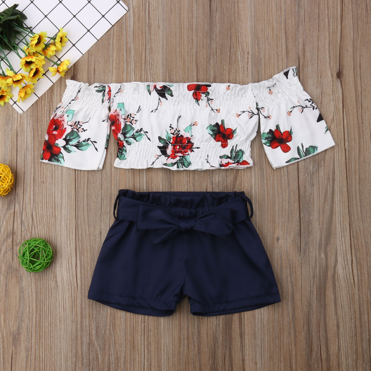 MIOIM 2PCS Infant Toddler Baby Girls Tassel Crop Tops Shorts Bottom Outfits