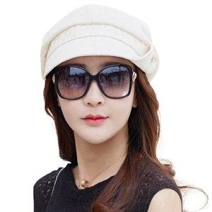 Image 2 - FANCET Bayan İlkbahar Yaz Bere Şapka Düz Pamuk Yumuşak Ayarlanabilir Jakarlı Bel Şeritler Zarif Moda Gazeteci Kapaklar 89027