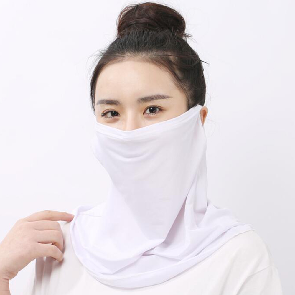 Fashion Women's Ice Silk Lightweight Sun Protection Masks Summer Solid/Floral Print Outdoor Riding UV Protective Face Mask Scarf
