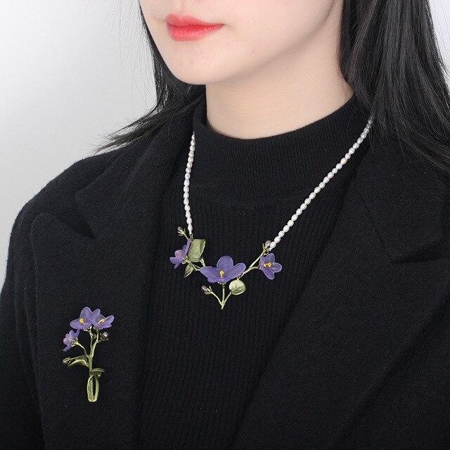 Gratis verzending Afrikaanse violet groene bloem accessoires broche