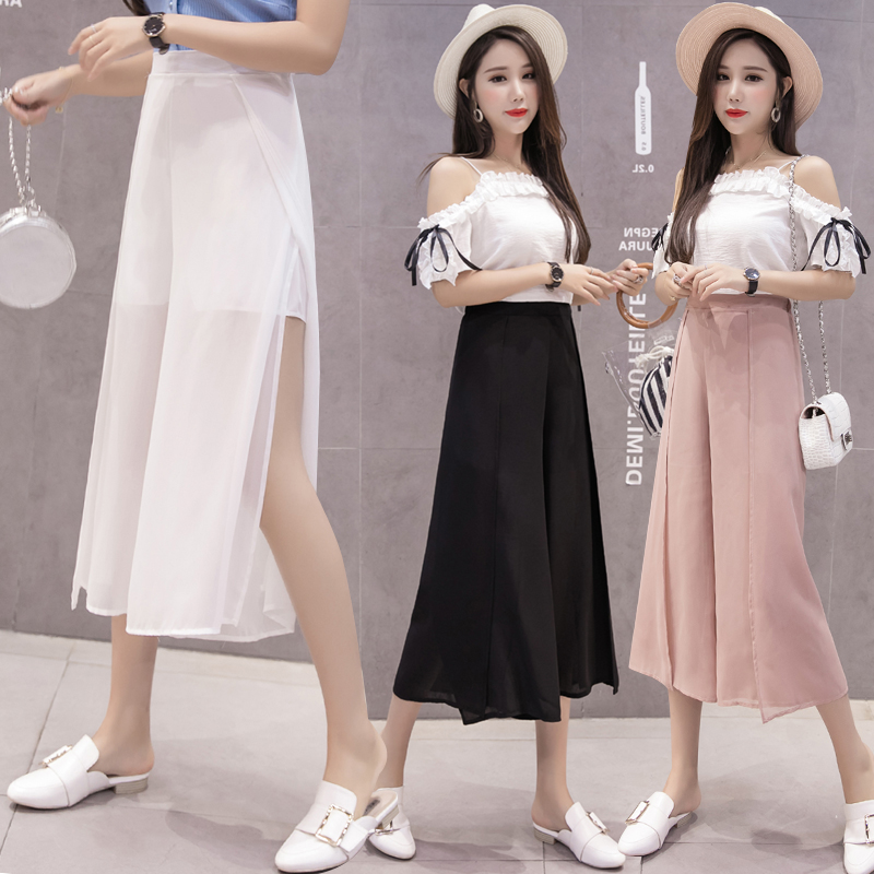Women Loose Chiffon   Wide     Leg     Pants   Casual High Waist Boho Beach Trousers 2019 Fashion Solid Female Harem   Pants   Skirts Large Size