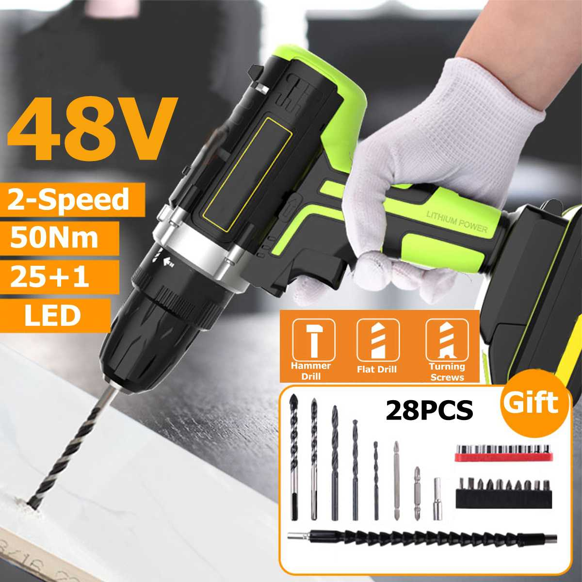 Professional 48v Cordless Drill Daul-speed Adjustment Led Lighting Large Capacity Battery 50nm 25+1 Torque 28pcs Accessories Tools