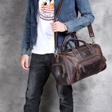 Men Thick Crazy horse leather travel bag Cow duffel vintage genuine luggage tote messenger