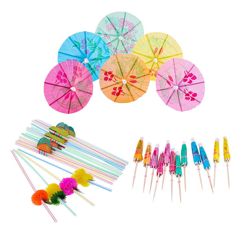 Hot-Cocktail Decoration Party Set, 50 Pieces Multiple Colors Umbrellas Straws and 50 Pieces Mixed Color 3D Fruit Straws, Total