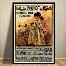 Póster de Corrida con diseño de Corrida de Barcelona, España 1935, diseño Vintage, arte de pared, decoración del hogar, sin marco