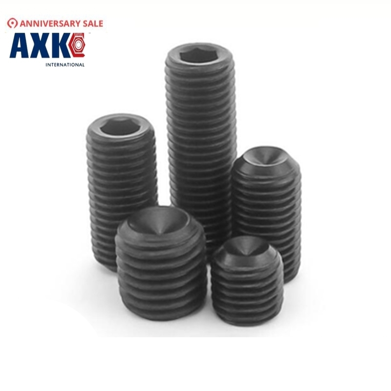 5-20pcs/lot M6 M8 <font><b>M10</b></font> M12 0.75/1/1.5 pitch thin teeth black alloy steel hex socket cup point set <font><b>screws</b></font> grub <font><b>screws</b></font> AXK472 image