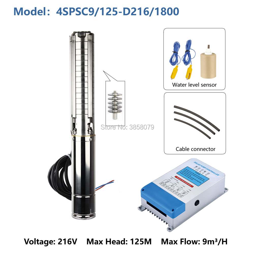 deep well solar water pumping machine system farm irrigation water pump machine 4SPSC9/125 D216/1800