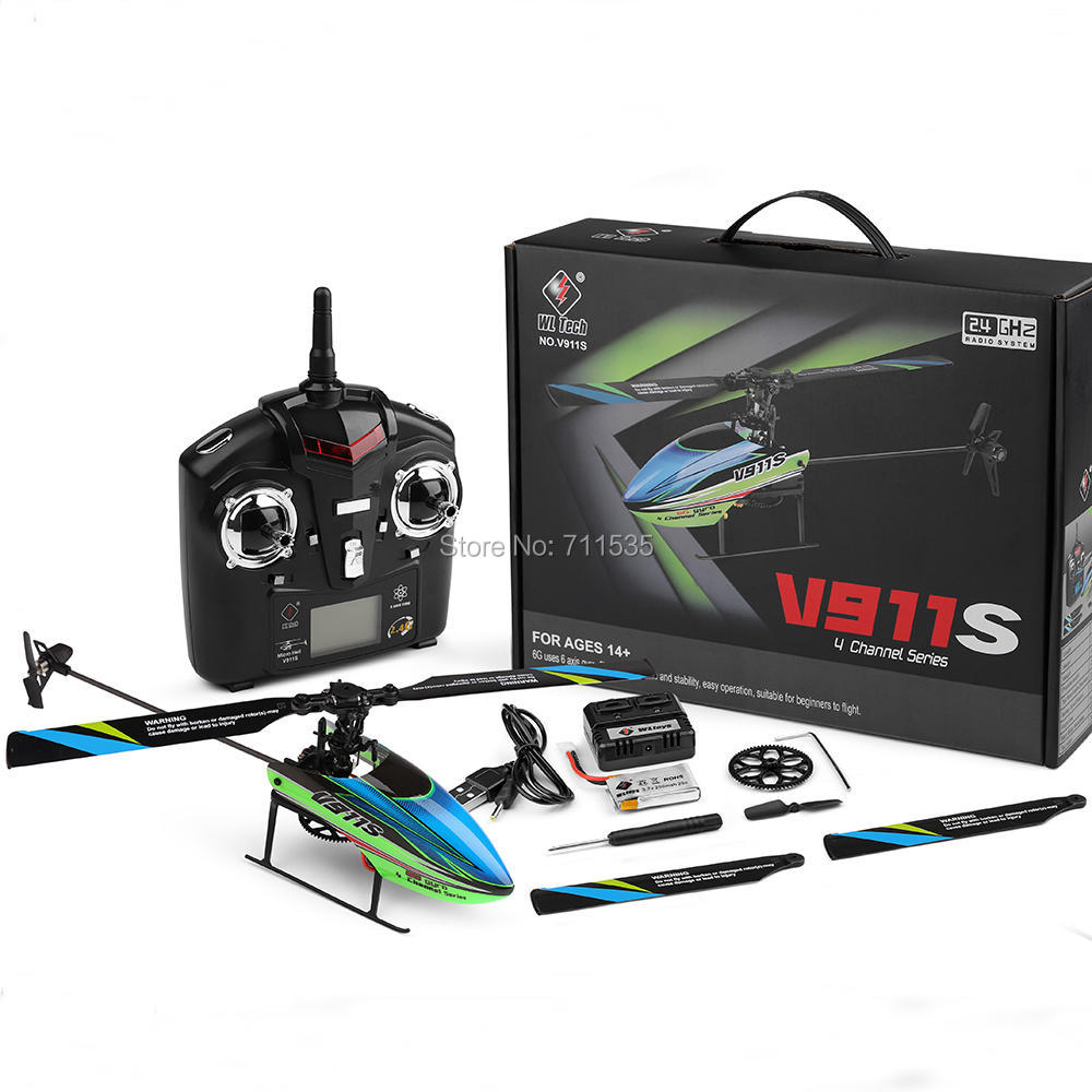 WLtoys V911S 2 4G 4CH Remote Control RC Helicopter with Gyro Mode 2 RTF For Kids