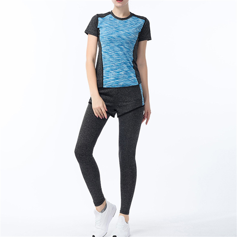 Fitness Quick Dry Two Piece Yoga Set Summer Shirt Pants Workout Suit Trainingspak Vrouwen Tracksuit Women in Yoga Sets from Sports Entertainment