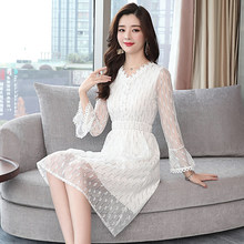 02dc5b849 2019 las nuevas mujeres vestido de encaje de la alta sociedad francés  dentro menos Vestidos azul cielo rosa pálido arroz blanco .