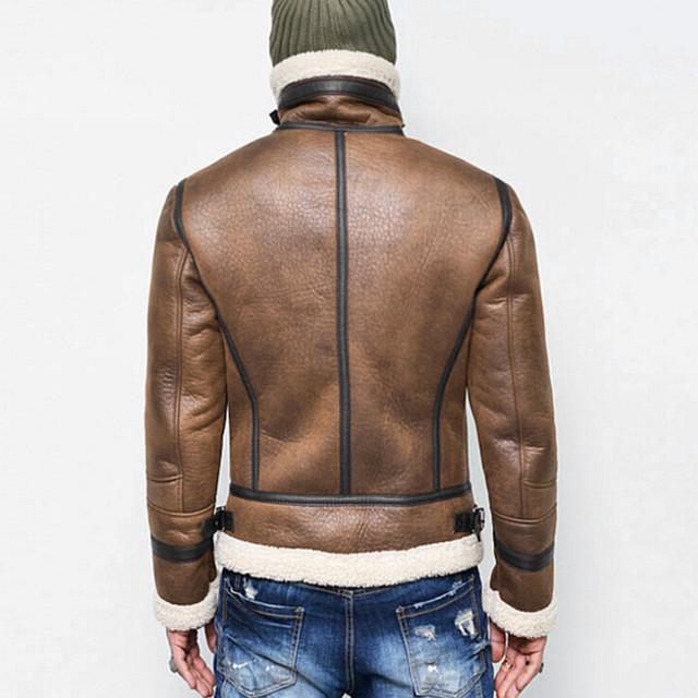 Rebicoo Jackets Men 2019 Men Coat Streetwear Hip Hop Warm Teddy Bear Lining Lapel Leather Zipper Outwear Coat Male Jacket